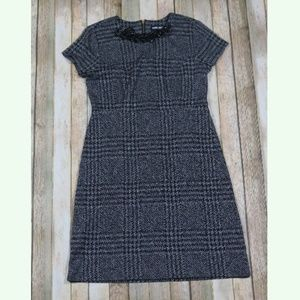 Karl Lagerfeld Cap Sleeve Shift Dress Houndstooth